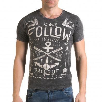 Ανδρική γκρι κοντομάνικη μπλούζα Lagos il120216-16 2