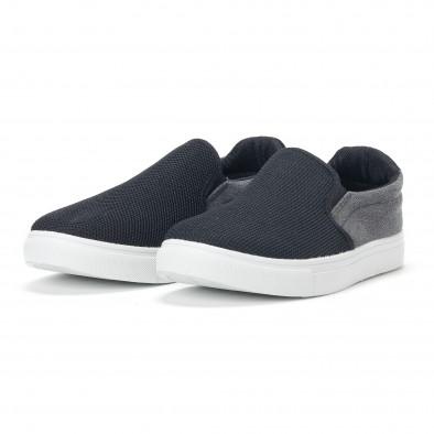 Ανδρικά μαύρα διχτυωτά sneakers slip-on it160318-13 3