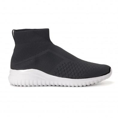 7bbb2da3615 Ανδρικά μαύρα αθλητικά παπούτσια slip-on κάλτσα it020618-16 2 ...