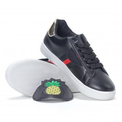Γυναικεία μαύρα sneakers με κινούμενο αυτοκόλλητο ανανά it230418-55 4