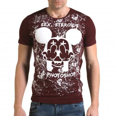 Ανδρική κόκκινη κοντομάνικη μπλούζα Lagos il120216-14 2