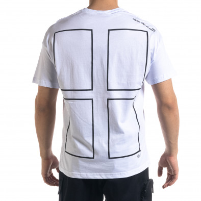 Ανδρική λευκή κοντομάνικη μπλούζα SAW tr110320-12 3