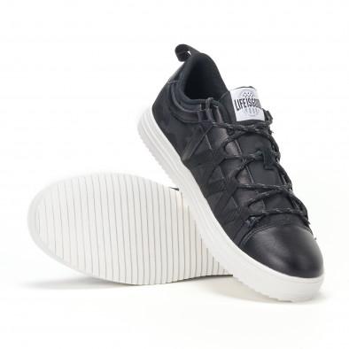 Ανδρικά μαύρα sneakers παραλλαγής με κορδόνια it160318-7 4