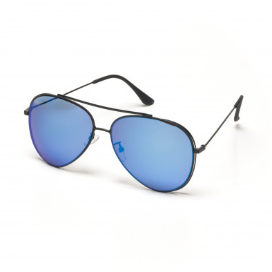 3348e68709 Ανδρικά γαλάζια γυαλιά ηλίου πιλότου με διπλό σκελετό it250418-42 ...