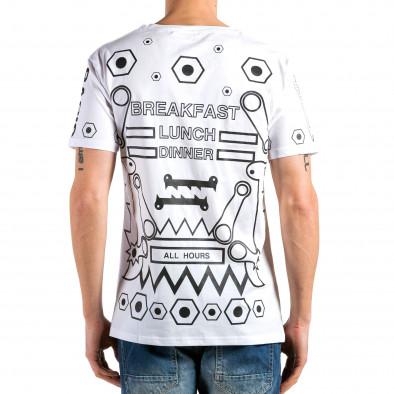 Ανδρική λευκή κοντομάνικη μπλούζα Kariqu it180315-46 3