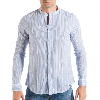 95b54052da7a Ανδρικό λευκό πουκάμισο με γαλάζιο ριγέ it050618-15 - Fashionmix.gr