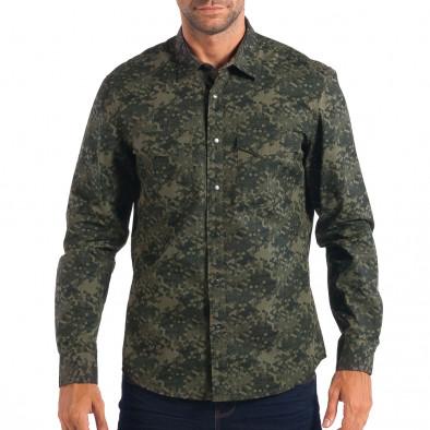 Ανδρικό πράσινο πουκάμισο παραλλαγής lp070818-118 2