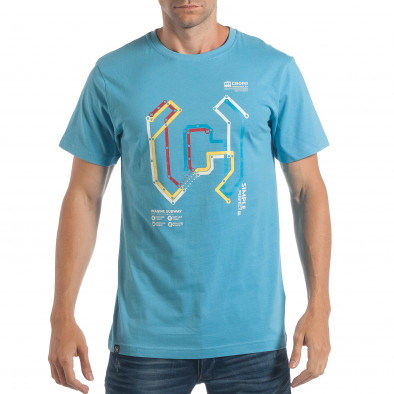 Ανδρική γαλάζια κοντομάνικη μπλούζα CROPP lp180717-204 2