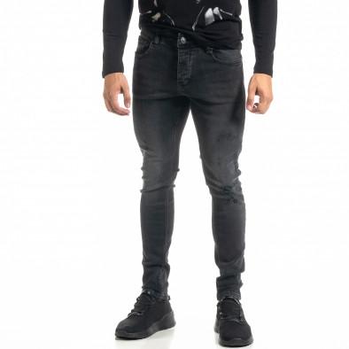 Ανδρικό μαύρο τζιν με σκισίματα tr020920-11 2