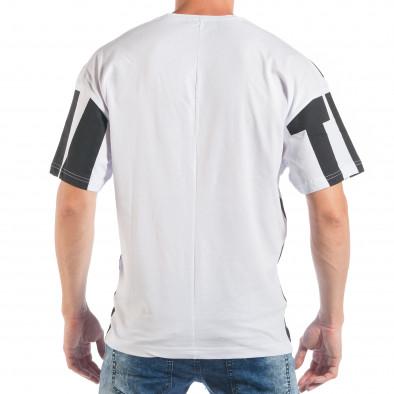 Ανδρική λευκή-μαύρη κοντομάνικη μπλούζα ελεύθερη γραμμή tsf250518-4 3
