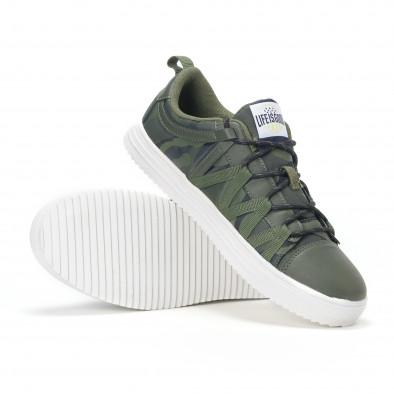 Ανδρικά πράσινα sneakers παραλλαγής με κορδόνια it160318-6 4