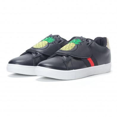 Γυναικεία μαύρα sneakers με κινούμενο αυτοκόλλητο ανανά it230418-55 3