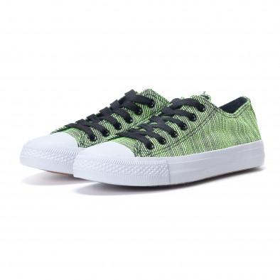 Γυναικεία υφασμάτινα sneakers με πράσινες και μαύρες ρίγες it240118-12 3