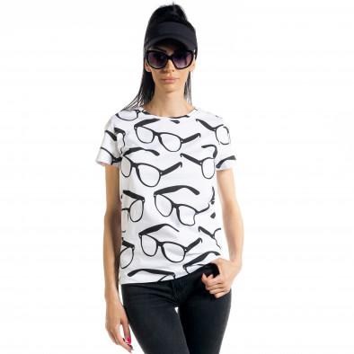Γυναικεία λευκή κοντομάνικη μπλούζα Glasses il080620-1 2
