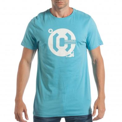 Ανδρική γαλάζια κοντομάνικη μπλούζα CROPP lp180717-180 2