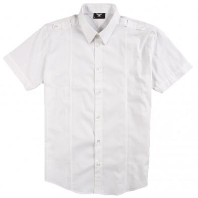 Ανδρικό λευκό κοντομάνικο πουκάμισο Gnious 120213-2 2