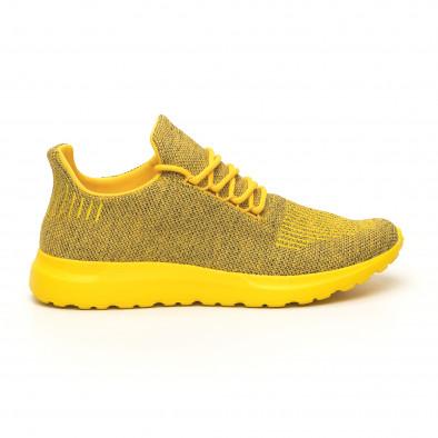 Ανδρικά κίτρινα μελάνζ αθλητικά παπούτσια με διακόσμηση it171019-2 2