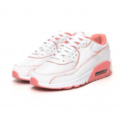 Γυναικεία λευκά-ροζ αθλητικά παπούτσια με αερόσολα it051219-11 3