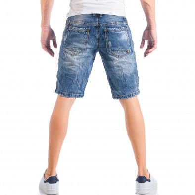 Ανδρική γαλάζια τζιν βερμούδα με σκισίματα και πιτσιλιές μπογιάς it050618-23 3