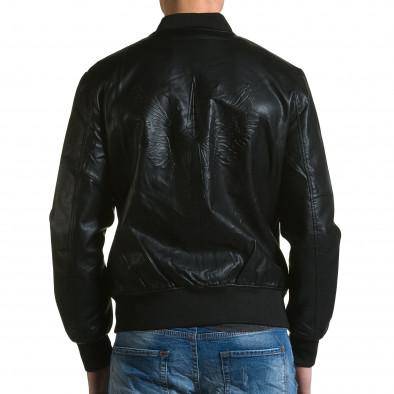 Ανδρικό μαύρο μπουφαν δερματινη X-Feel ca190116-33 3