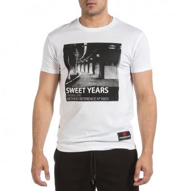 Ανδρική λευκή κοντομάνικη μπλούζα Sweet Years it040621-14 2