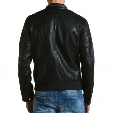 Ανδρικό μαύρο μπουφαν δερματινη X-Feel ca190116-34 3