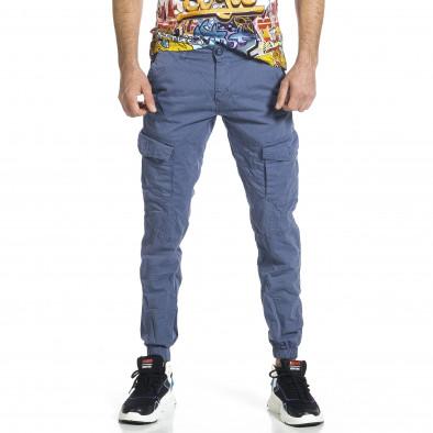 Ανδρικό γαλάζιο παντελόνι cargo jogger tr270421-3 2