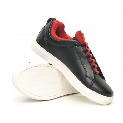 Ανδρικά μαύρα sneakers με κόκκινη λεπτομέρεια it051219-5 4