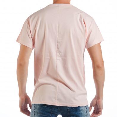 Ανδρική ροζ κοντομάνικη μπλούζα με πριντ παπαγάλο tsf250518-7 3