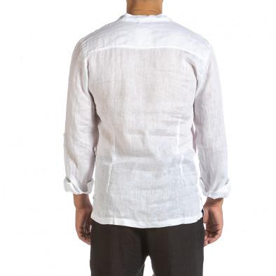 Ανδρικό λευκό λινό πουκάμισο Made in Italy it240621-35 3