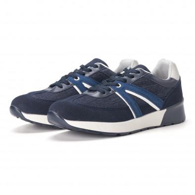 Ανδρικά μπλε sneakers από συνδυασμό υφασμάτων it020618-20 3