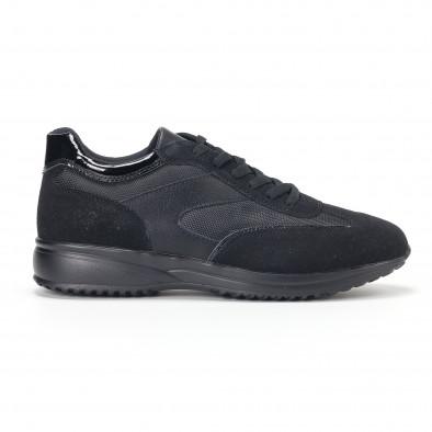 Ανδρικά μαύρα αθλητικά παπούτσια με ψηλή σόλα it160318-38 2