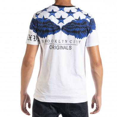 Ανδρική λευκή κοντομάνικη μπλούζα Flex Style iv080520-84 3