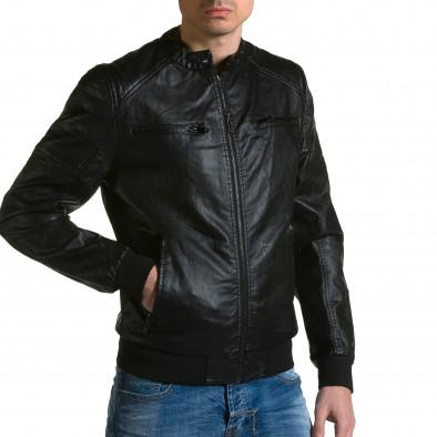 Ανδρικό μαύρο μπουφαν δερματινη Forex ca190116-36 4