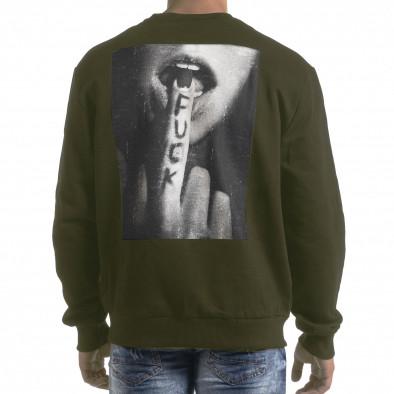 Ανδρική πράσινη μπλούζα με πρίντ στην πλάτη it091219-17 3
