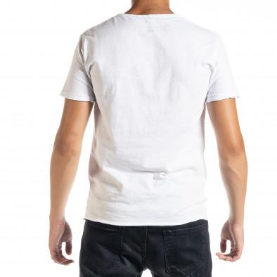 Ανδρική λευκή κοντομάνικη μπλούζα Duca Homme it010720-30 3
