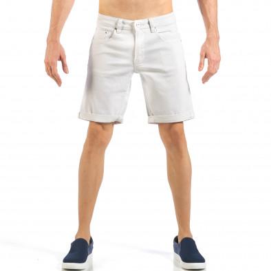 Ανδρική λευκή τζιν βερμούδα απλό μοντέλο it260318-122 2