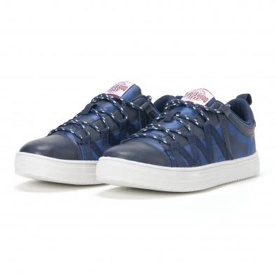 Ανδρικά μπλε sneakers παραλλαγής με κορδόνια it160318-8 4
