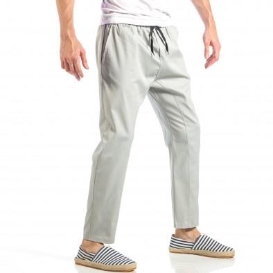 Ανδρικό γκρι ελεύθερο παντελόνι με λάστιχο it040518-18 3
