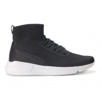 Ανδρικά μαύρα αθλητικά παπούτσια κάλτσα it020618-17 2