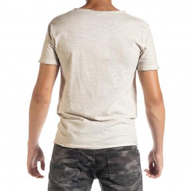 Ανδρική μπεζ κοντομάνικη μπλούζα Duca Homme it010720-28 3