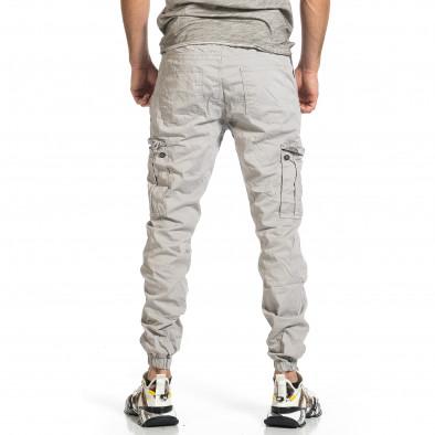 Ανδρικό ανοιχτό γκρι παντελόνι cargo jogger tr270421-1 3