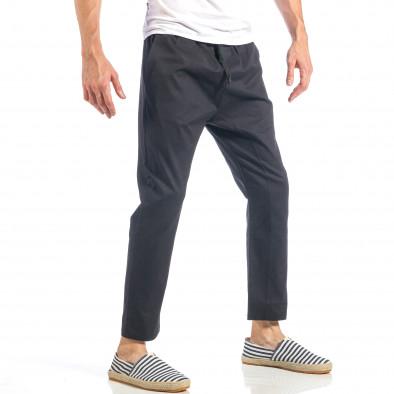 Ανδρικό μαύρο ελεύθερο παντελόνι με λάστιχο it040518-17 3