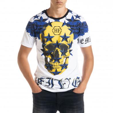 Ανδρική λευκή κοντομάνικη μπλούζα Flex Style iv080520-84 2