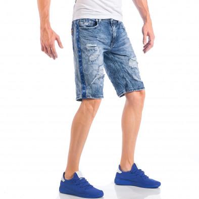 Ανδρική γαλάζια τζιν βερμούδα με σκισίματα  it050618-22 5