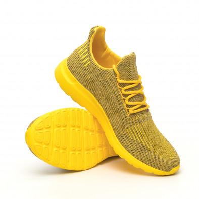 Ανδρικά κίτρινα μελάνζ αθλητικά παπούτσια με διακόσμηση it171019-2 5