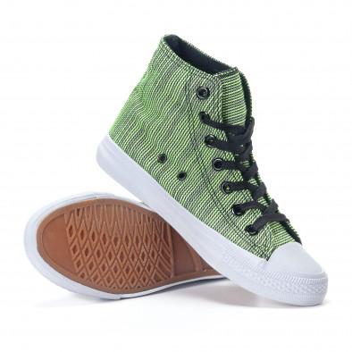 Ψηλά γυναικεία υφασμάτινα sneakers με πράσινες και μαύρες ρίγες it240118-9 4