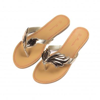 Γυναικείες μπεζ παντόφλες με μεταλλική χρυσαφένια διακόσμηση it010618-17 3