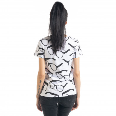 Γυναικεία λευκή κοντομάνικη μπλούζα Glasses il080620-1 3