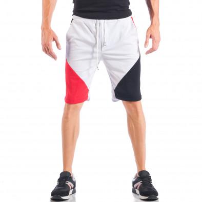 Ανδρικό λευκό σορτς με κόκκινες και μαύρες λεπτομέρειες it050618-41 2